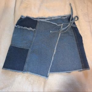 urban outfitters denim patchwork skirt